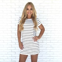 Athletic Stripe Shift Dress