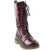 Womens Mid Calf Boots Shiny Lace Up Combat Casual Zip Up Shoes BURGUNDYPA