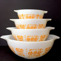 Vintage Orange-Yellow Butterprint Pyrex Cinderella Nesting Bowls