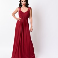 Burgundy Red Sweetheart Empire Waist Chiffon Long Dress 2016 Prom Dresses