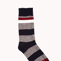 Marled Stripe Socks Navy/Cream One