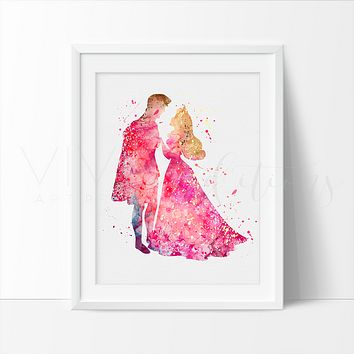 Princess Aurora & Prince Phillip 2 Watercolor Art Print