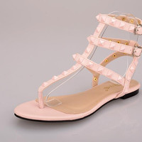 {D&T}Hot New Summer Gladiator Sandals Women Rivets Filp Flops Ladies Rubber Sole PU Flat Sandals  Shoes Woman