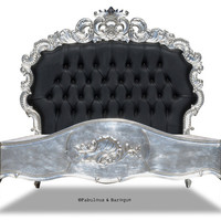 Nights Dream Tufted Bed Silver and Black, fabulous and baroque, unique kids furniture, luxurious childrens furinture, unique furniture, designer, high