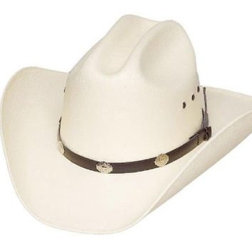 Classic Cattleman Straw Cowboy Hat with Silver Conchos and Elastic Band - White - Large/X-Large