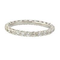 Sterling Silver Cubic Zirconia Ring Stackable Round White CZ Stones - 2.5mm Wide