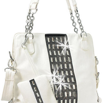 White Rhinestone and Gem Accented Tall Fashion Handbag