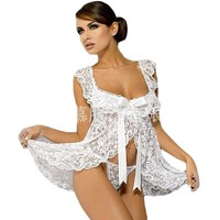 Plus Size Women Sexy Erotic Lingerie Sheer Lace Transparent Open Front Nightwear Porn Pajamas Sexy Costume Intimates ThongsQQ418