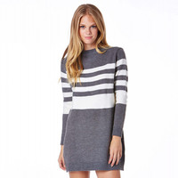 Gray Contrast Loose Rib Knit Sweater Dress