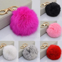 New Cute Keychain Faux Fur Ball Shape Accessory for Car Key Ring = 1931939332