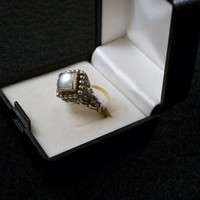Vintage Antique Style Sterling Silver Artisan Ring Square  Pearl  Old fashioned looking