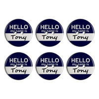 Tony Hello My Name Is Plastic Resin Button Set of 6