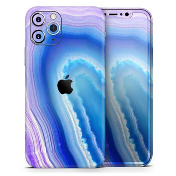 Blue & Purple Hue Agate - Skin-Kit compatible with the Apple iPhone 12, 12 Pro Max, 12 Mini, 11 Pro or 11 Pro Max (All iPhones Available)