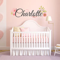 Flower Name Wall Decal - by Decor Designs Decals, Nursery Wall Decal - Fancy Name wall decal - name wall decal - script style name - flowers decal - Baby Girl Decal