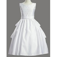 Tea Length Pearl Accent Dress with Back Ruffled Skirt - SP853