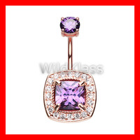 Rose Gold 14g Navel Ring Sparkle Essentia Purple Belly Button Ring Navel Jewelry Navel Belly Button Jewelry Belly Piercing