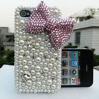 iphone 5 case iphone 4s case Bling bling bows  pink Pearl pink  bows case pink phone case
