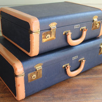 Set of 2 Vintage Navy Blue with Brown Leather Trim Suitcases / Luggage - National Leather Goods (Hard Shell Suitcase)
