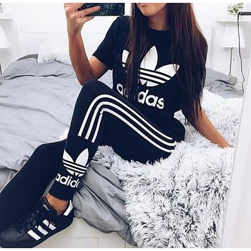 Adidas Print Stretch Exercise Fitness Pants Trousers Leggings Sweatpants Shirt Top Tee