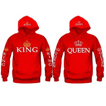 Women Men Hoodies King Queen Printed Sweatshirt Lovers Couples Hoodie Hooded Sweatshirt Casual Pullovers Tracksuits Hoodies