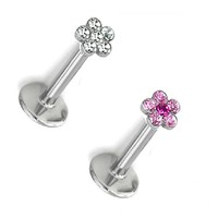 Crystal Stone Flower Internally Threaded Top with 16 Gauge Surgical Steel Labret Tragus Bars (PINK)