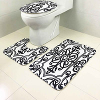 3Pcs/Set Bathroom Non-Slip Pedestal Rug Lid Toilet Cover Bath Mat Carpet Durable