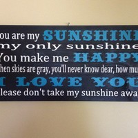 You Are My Sunshine Sign Word Art Typography Wood Sign Horizontal | SignsofElegance - Housewares on ArtFire