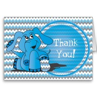 Funny Silly Blue Elephant Thank You Note Cards