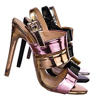 Carmela84 High Heel Stiletto Slingback Dress Sandals - Women Strappy Open Toe