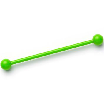 14 Gauge Bright Green Plated Glow in the Dark Industrial Barbell 38mm