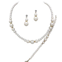 3 Piece Faux Cream Graduated Pearl Bridesmaid Bridal Necklace, Earring, Bracelet W Crystal Gold Tone