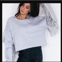 New tassel long sleeve round collar solid color sweater woman