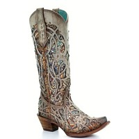 Corral Taupe Inlay and Studs Snip Toe Boots (Size 11)