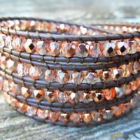 Beaded Leather Wrap Bracelet 4 Wrap with Rose Gold Light Pink Czech Glass Beads on Brown Leather Spring Summer