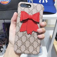 GUCCI Fashion New More Letter Red Bow-Knot Protective Cover Phone Case