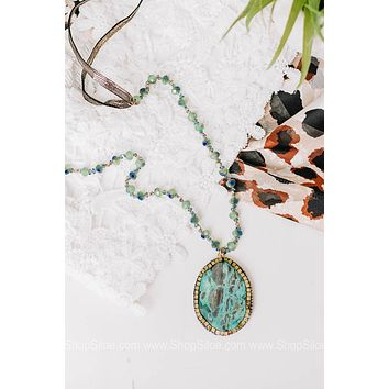 Mint Chip Natural Stone Beaded Necklace