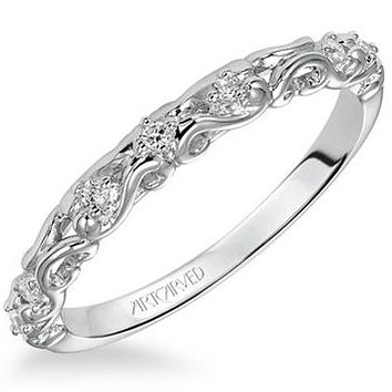 """Artcarved """"Ruby"""" Antique Style Diamond Scrollwork Wedding Band"""