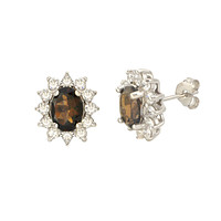 Smoky Quartz Gemstone Flower Stud Earrings Sterling Silver Micropave CZ Accent