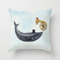 Whale Song Throw Pillow by Terry Fan