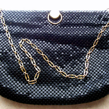 Black Mesh Metal Purse with Goldtone Chain Handle and Embellishments, Spring Frame with One Zipper Side Pocket by Bueno