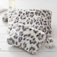 Faux Fur Grey Cheetah Beauty Pouches and Set