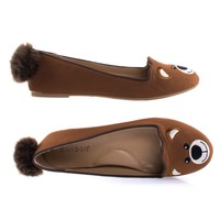 Kiwi74S Bear By Bamboo Adorable Round Toe Ballet Flats Loafer w Cute Animal Face, Faux Fur Tail