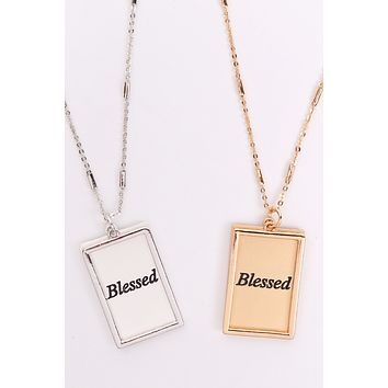 "MYN1421MGBLE - ""BLESSED"" ETCHED BRASS BOX PENDANT NECKLACE"