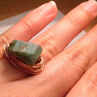 Green Indian agate ring - size 6 1/2 - copper ring - wire wrapped ring - natural stone ring - chunky ring - cocktail ring - statement ring
