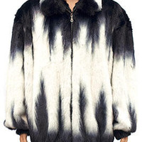 Kashani White Black Full Mink Bomber Fur Coat