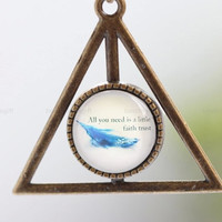 Harry Potter Necklace, Deathly Hallows necklace, retro bronze charm with time gem. Inspiring necklace