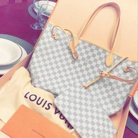 LV Tide brand classic old flower female shopping bag handbags mother bag two-piece White check