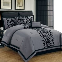 8 Piece King Dawson Black and Gray Comforter Set