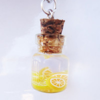 Miniature Bottle Jewelry  ORANGES & LEMONS  necklace by FrozenNote