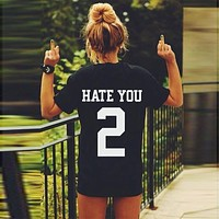 Print Hate You Hate You 2 Women's Triblend Dolman Shirt - black